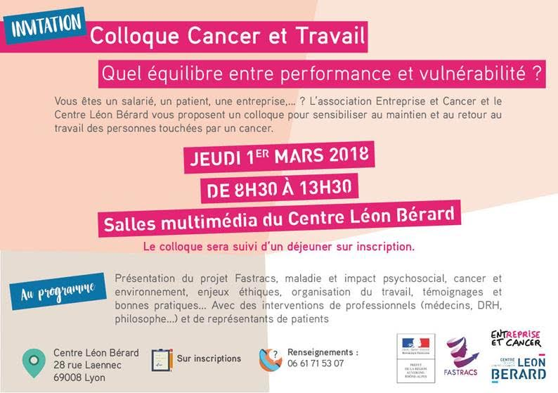 soci t de m decine et sant au travail de lyon agenda 1er mars 2018 colloque cancer et. Black Bedroom Furniture Sets. Home Design Ideas